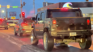 """A Hummer with a """"3REICH"""" license plate seen near downtown Anchorage on Jan. 22, 2021"""