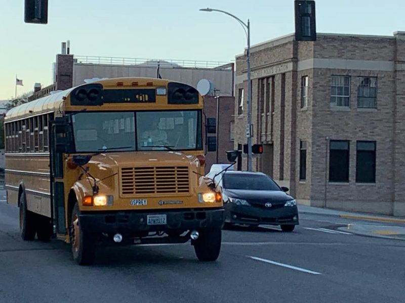 school bus being driven along the street by suspect Andrew Loudon