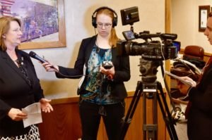 Aviva Okeson-Haberman pictured while working as a reporter for Kansas City radio station KCUR