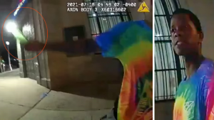 stills of bodycam footage showing Tyshaun Holloway and the moment he swung a bottle at on-duty NYPD cop