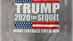 """The back of high school sophomore Morgan Earnest's T-shirt. The message reads: """"Trump 2020 The Sequel: Make Liberals Cry Again."""""""