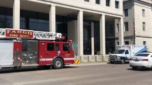 Emergency vehicles outside the federal courthouse in Fargo on Monday afternoon
