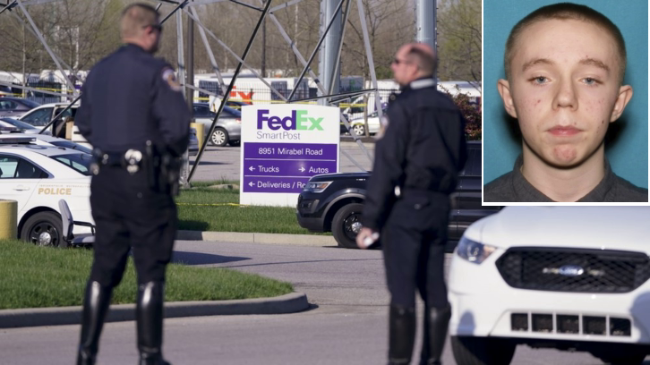 Police stand near the scene where Brandon Scott Hole (inset) fatally shot 8 people at a FedEx facility in Indianapolis
