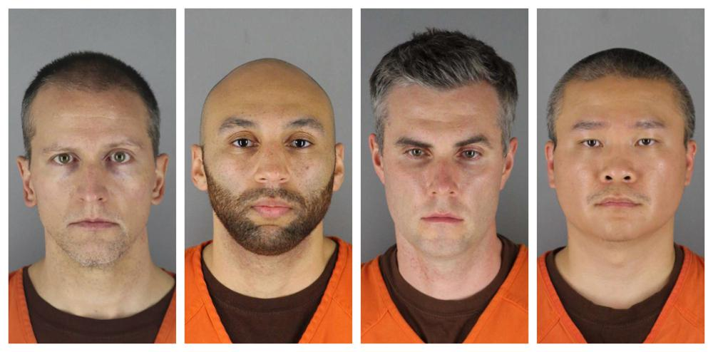 mug shots of Derek Chauvin, J. Alexander Kueng, Thomas Lane and Tou Thao, the four former Minneapolis police officers involved in George Floyd's arrest and death