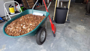 wheelbarrow full of the greasy pennies dumped on a Georgia man's driveway as his final paycheck