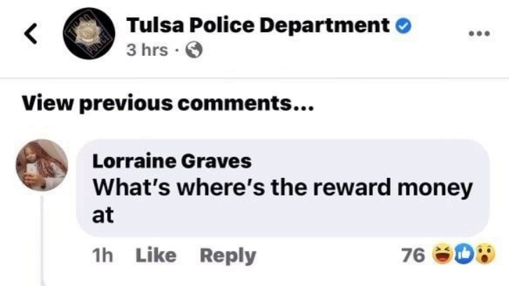 Screenshot of Lorraine Graves' reply to the Tulsa Police Department's Facebook post