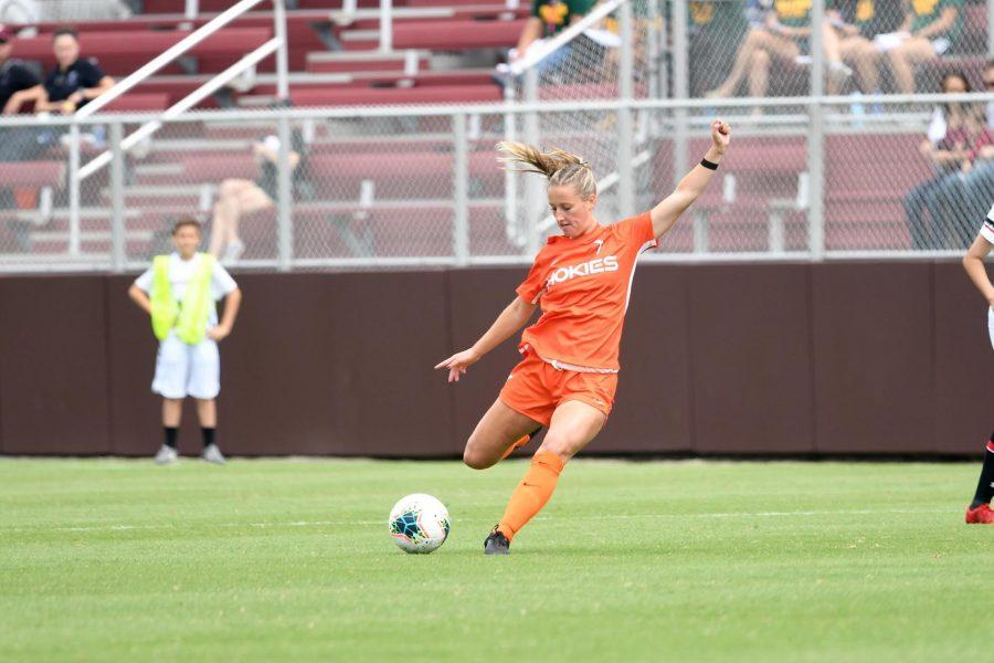 Former Virginia Tech women's soccer player Kiersten Hening pictured during a match