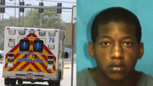 Sunstar ambulance and mug shot of Black man