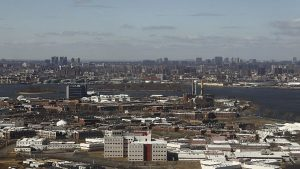 view of New York City's Rikers Island jail complex, where a prisoner twice ripped out his own eye