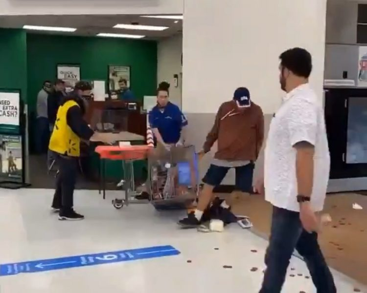 the shopper starts to fall after being hit by the worker
