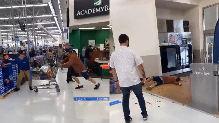 shopper ramming trolley at Walmart worker, then lying spread out on the floor after being punched