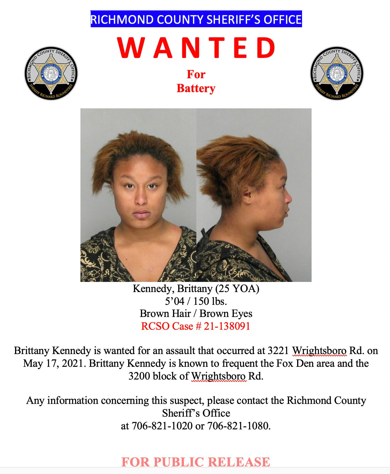 wanted poster for Brittany Kennedy showing her picture, front on and in profile