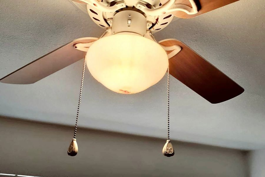 the ceiling fan in Cardenas's bedroom