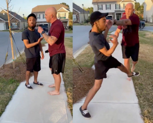 stills of the viral video showing soldier Jonathan Pentland pushing a young black man in a South Carolina neighborhood