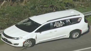 white mortuary van allegedly stolen by Kijon Griffin to make a getaway from cops
