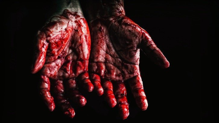 blood-covered hands